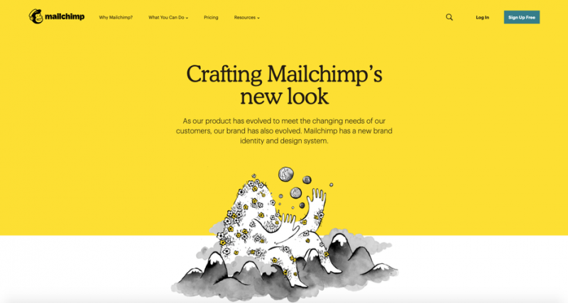 Mailchimps homepage demonstrating the use of serif fonts in digital media