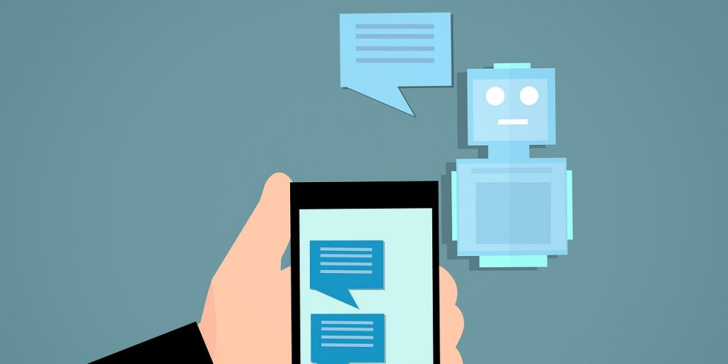 A cartoon of an ai chatbot communicating with a human reprsenting a 2019 web design trend