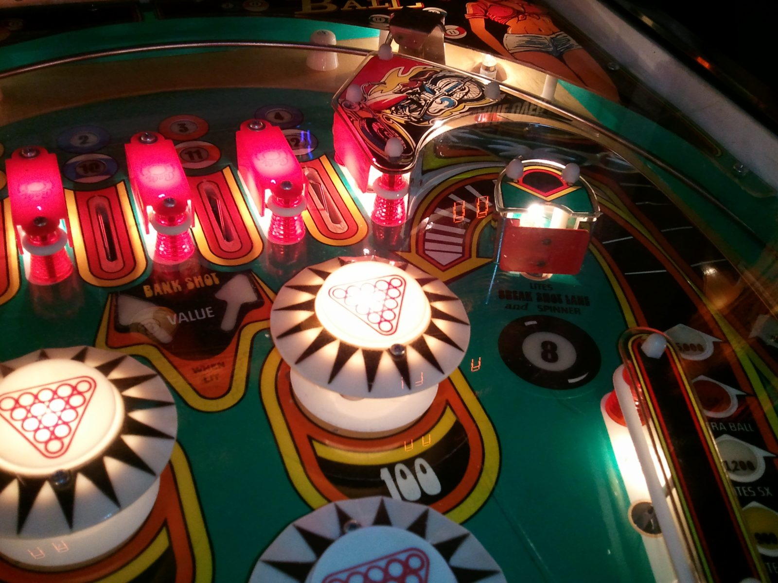 A pinball machine top from the collection of Pinball 4 All owner Larry Cuthie