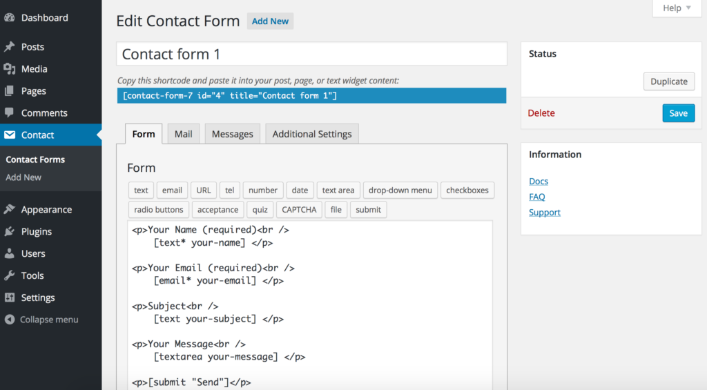 Example user interface for contact form 7