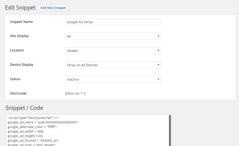 Header Footer Code Manager user interface